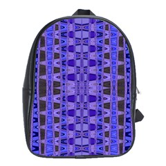 Blue Black Geometric Pattern School Bags(Large)