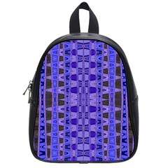 Blue Black Geometric Pattern School Bags (Small)