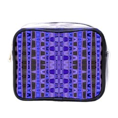 Blue Black Geometric Pattern Mini Toiletries Bags