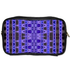 Blue Black Geometric Pattern Toiletries Bags