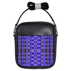 Blue Black Geometric Pattern Girls Sling Bags