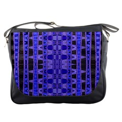 Blue Black Geometric Pattern Messenger Bags