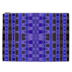 Blue Black Geometric Pattern Cosmetic Bag (XXL)
