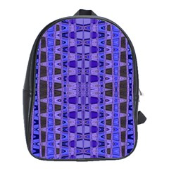 Blue Black Geometric Pattern School Bags (XL)