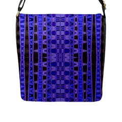 Blue Black Geometric Pattern Flap Messenger Bag (L)