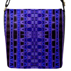 Blue Black Geometric Pattern Flap Messenger Bag (S)
