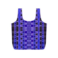 Blue Black Geometric Pattern Full Print Recycle Bags (S)