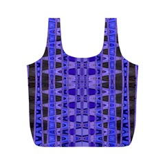 Blue Black Geometric Pattern Full Print Recycle Bags (M)