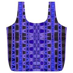 Blue Black Geometric Pattern Full Print Recycle Bags (l)  by BrightVibesDesign