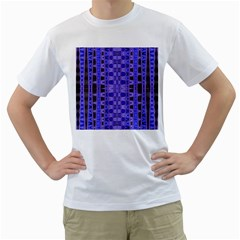 Blue Black Geometric Pattern Men s T-Shirt (White)