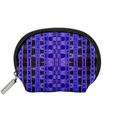 Blue Black Geometric Pattern Accessory Pouches (small)