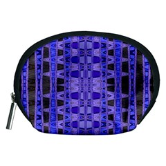 Blue Black Geometric Pattern Accessory Pouches (Medium)