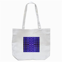 Blue Black Geometric Pattern Tote Bag (White)