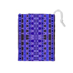 Blue Black Geometric Pattern Drawstring Pouches (Medium)