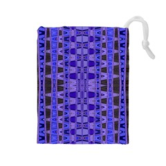 Blue Black Geometric Pattern Drawstring Pouches (Large)