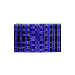 Blue Black Geometric Pattern Cosmetic Bag (XS)