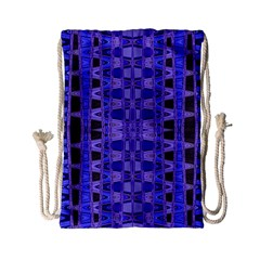 Blue Black Geometric Pattern Drawstring Bag (Small)