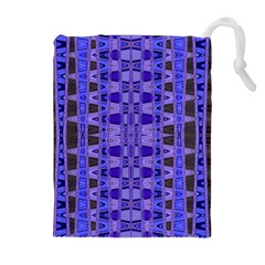 Blue Black Geometric Pattern Drawstring Pouches (Extra Large)