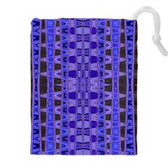Blue Black Geometric Pattern Drawstring Pouches (XXL)