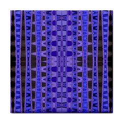 Blue Black Geometric Pattern Tile Coasters