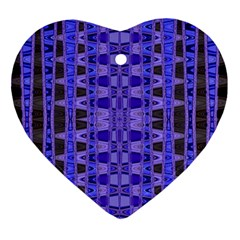 Blue Black Geometric Pattern Ornament (Heart)