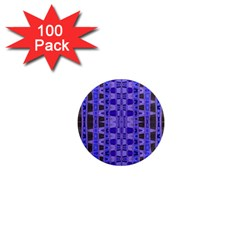 Blue Black Geometric Pattern 1  Mini Magnets (100 pack)