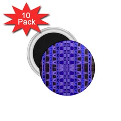 Blue Black Geometric Pattern 1.75  Magnets (10 pack)