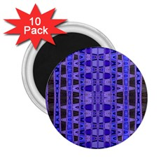 Blue Black Geometric Pattern 2.25  Magnets (10 pack)