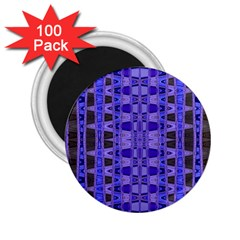Blue Black Geometric Pattern 2.25  Magnets (100 pack)