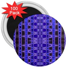 Blue Black Geometric Pattern 3  Magnets (100 pack)