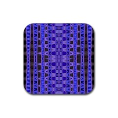 Blue Black Geometric Pattern Rubber Coaster (Square)