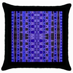 Blue Black Geometric Pattern Throw Pillow Case (Black)