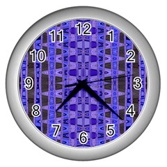 Blue Black Geometric Pattern Wall Clocks (Silver)