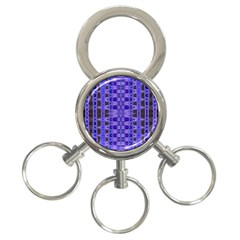 Blue Black Geometric Pattern 3-Ring Key Chains