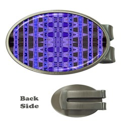 Blue Black Geometric Pattern Money Clips (Oval)