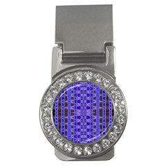 Blue Black Geometric Pattern Money Clips (CZ)