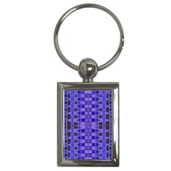 Blue Black Geometric Pattern Key Chains (Rectangle)