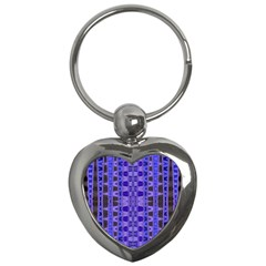 Blue Black Geometric Pattern Key Chains (Heart)