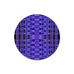 Blue Black Geometric Pattern Rubber Coaster (Round)