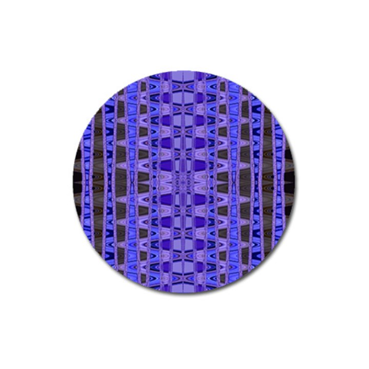 Blue Black Geometric Pattern Magnet 3  (Round)