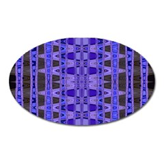 Blue Black Geometric Pattern Oval Magnet