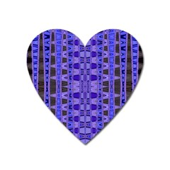 Blue Black Geometric Pattern Heart Magnet