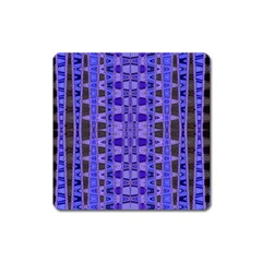 Blue Black Geometric Pattern Square Magnet