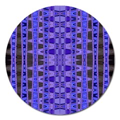 Blue Black Geometric Pattern Magnet 5  (round) by BrightVibesDesign
