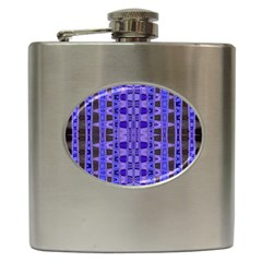 Blue Black Geometric Pattern Hip Flask (6 oz)