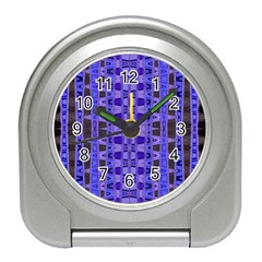Blue Black Geometric Pattern Travel Alarm Clocks