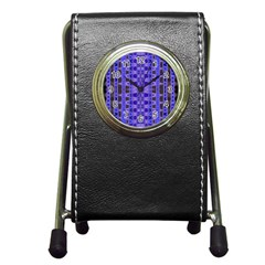 Blue Black Geometric Pattern Pen Holder Desk Clocks