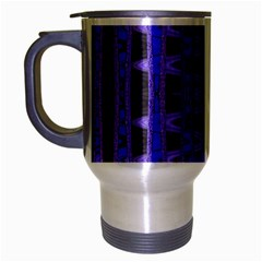 Blue Black Geometric Pattern Travel Mug (Silver Gray)