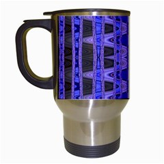 Blue Black Geometric Pattern Travel Mugs (White)