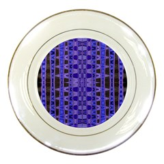 Blue Black Geometric Pattern Porcelain Plates by BrightVibesDesign